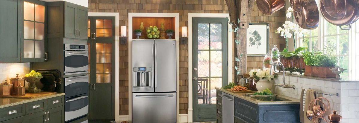 A Kitchen Featuring A GE French Door Refrigerator.