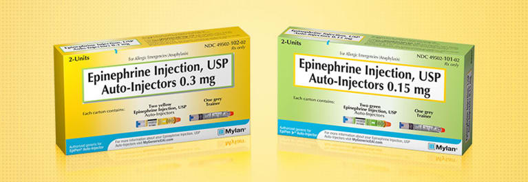 A photo of two packages of Mylan EpiPen auto-injectors of epinephrine emergency allergy drug.
