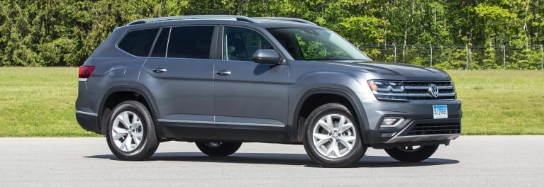 Front of 2018 Volkswagen Atlas three-row SUV.