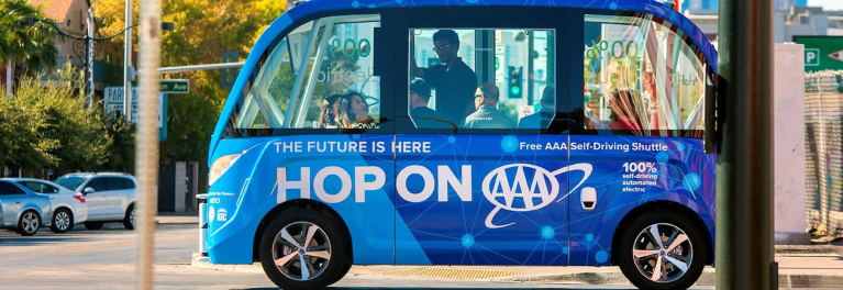 AAA self-driving shuttle in Las Vegas
