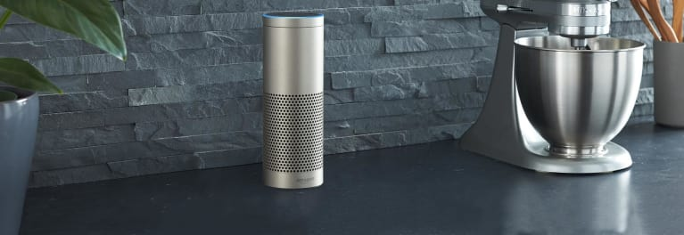 a silver Amazon Echo smart speaker for a story on the best Black Friday smart speaker.