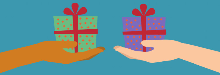 Tech gifts for under $150 represented by a simple drawing of wrapped gifts being exchanged