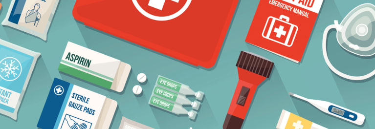 An illustration showing various items you should have in your medication go-bag for when disaster strikes.