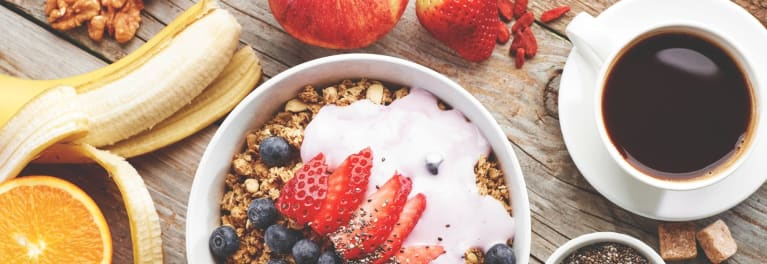 Yogurt, granola, fruit, coffee, banana: All show the importance of a healthy breakfast.