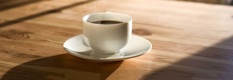 A cup of decaffeinated coffee.