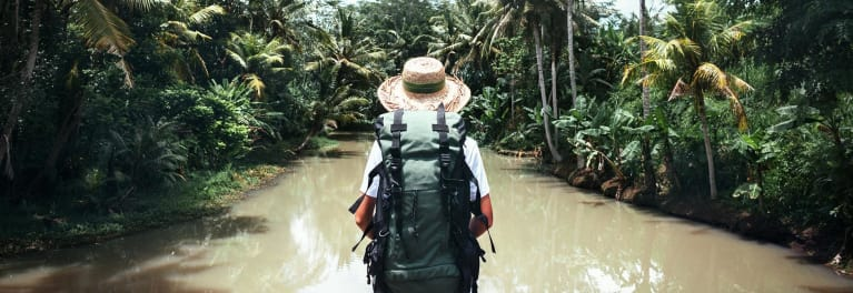 A traveler wearing a backpack.