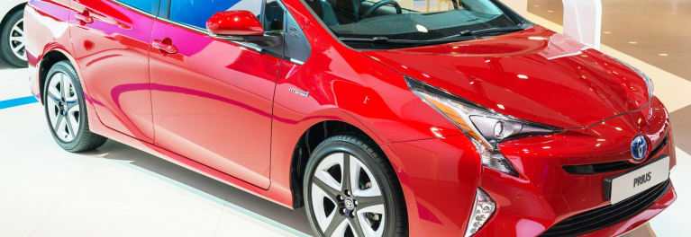 A red 2016 Toyota Prius that's part of the Toyota and Lexus recall.