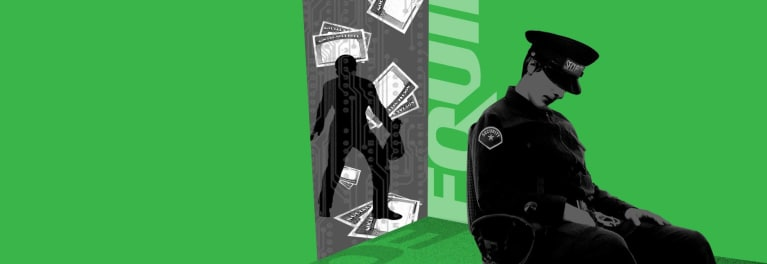 Illustration of a security guard sleeping while a criminal steals money and personal data