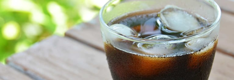 A cup of cold brewed coffee.