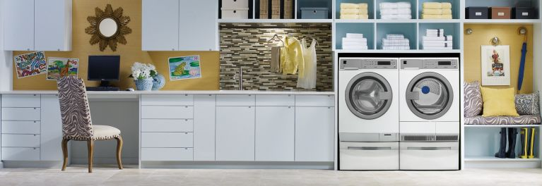Compact washers and dryers fit in tight spots.