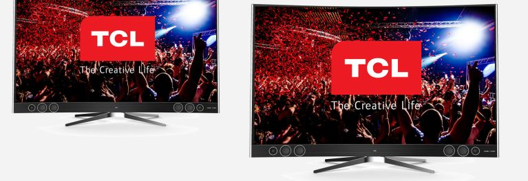 Photos of TCL's new X1 4K UHD TVs with quantum dots, HDR, and the 4K Roku smart TV interface.