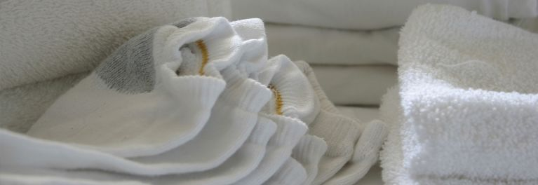 Pile of bright white laundry.