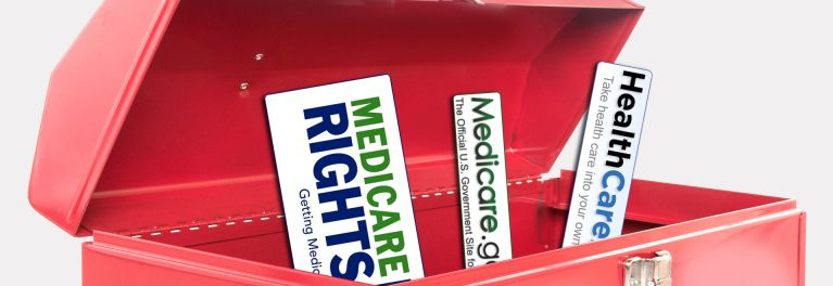 A tool box with logos for Healthcare.gov, Medicare.gov, and MedicareRights.org.