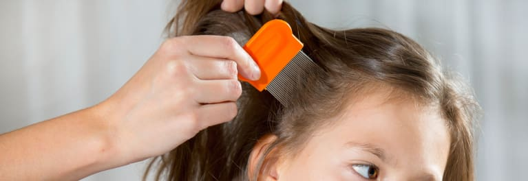 Combing out a little girl's hair in search of head lice.