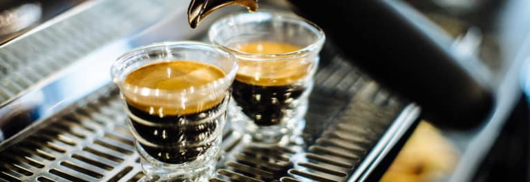 Two shots of caffeine. There is more caffeine in espresso than in coffee.