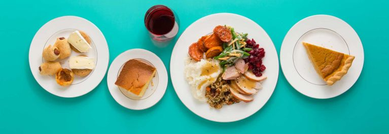 Calories in Thanksgiving dinner don't have to be outrageous if you take reasonable portion sizes.
