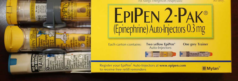 A photo of two EpiPen Auto Injectors