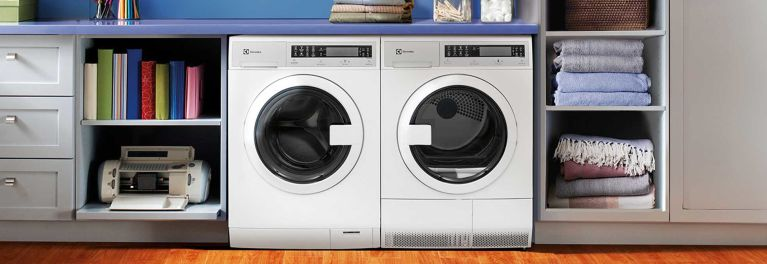 Side-by-side compact washer and dryer set.