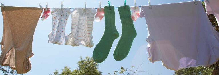 Line drying clothes.