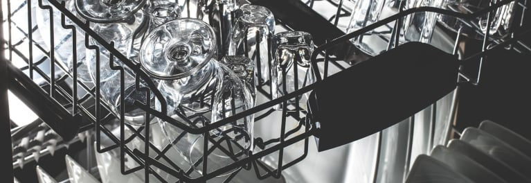 Glasses in a dishwasher