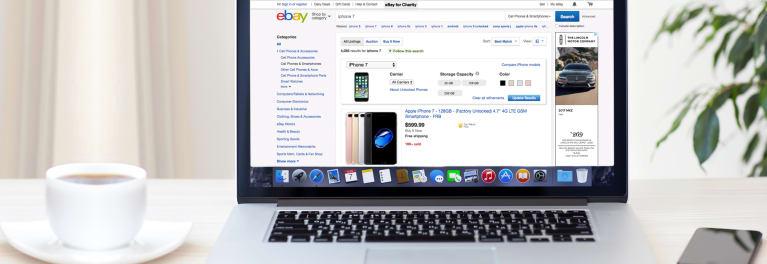 Used smartphone for sale on eBay website
