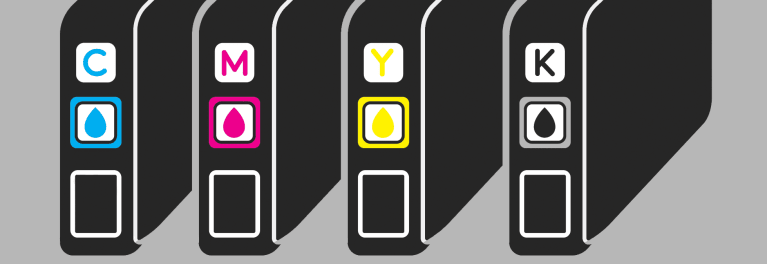 An illustration of printer ink cartridges