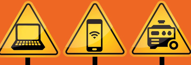 Digital tips for disasters illustrated by a graphic of road signs showing a cellphone and other tech