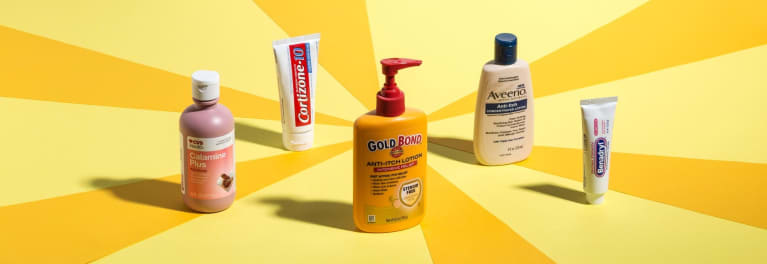 A photo of drugstore products for itchy skin.