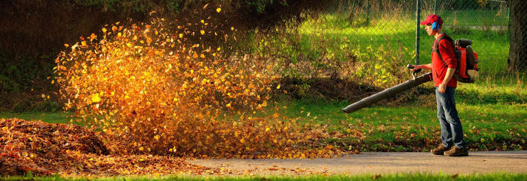 Blowing leaves for fall yard care