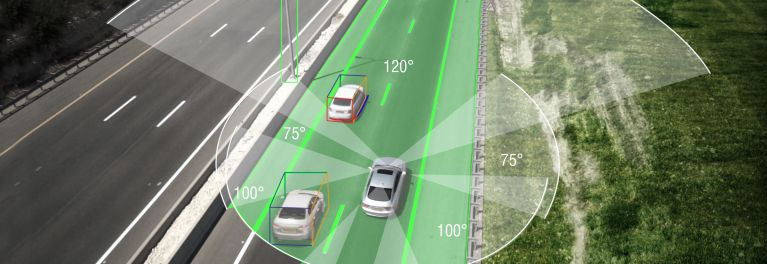 Car tech: Illustration of self-driving cars using cameras and sonar to navigate on highways.