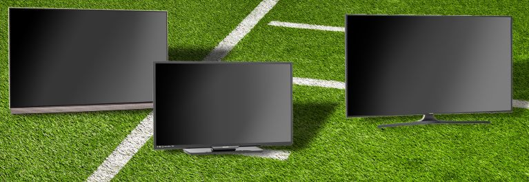 Photo of TVs on a football field for an article that describes how you can get the best TVs for the money.