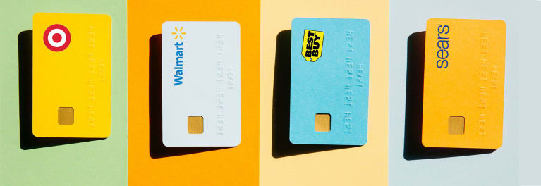 Illustration of four different store credit cards.