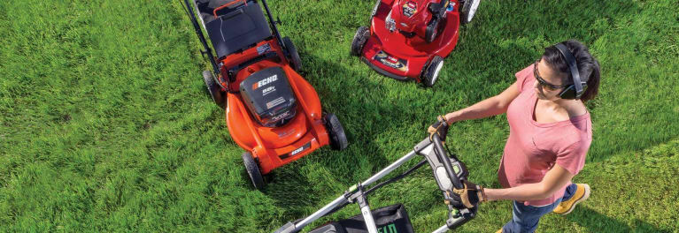 Gas and electric lawn mowers.