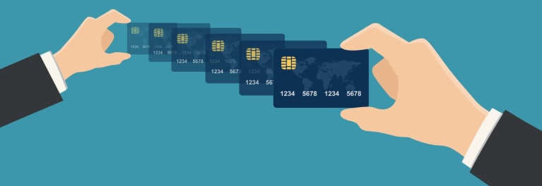 An illustration showing a series of credit cards
