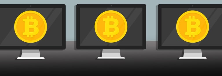An illustration aboiut bitcoin and investing in digital currencies