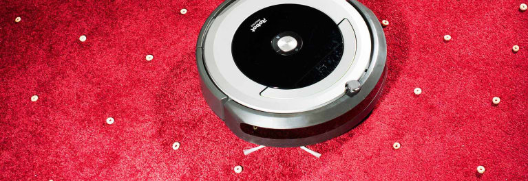 A robotic vacuum in Consumer Reports' vacuum test lab.