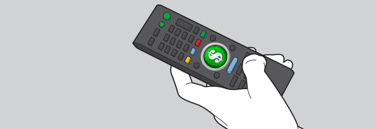 An illustration of a TV remote for an article on money-saving tech tips