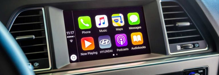 An image of the Apple CarPlay app that links smartphones to compatible in-car infotainment systems.