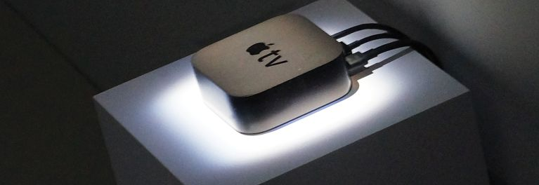 An image of the new Apple TV streaming media player announced today.