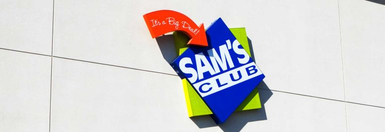 Photo of the Sam's Club logo on the exterior of a store.