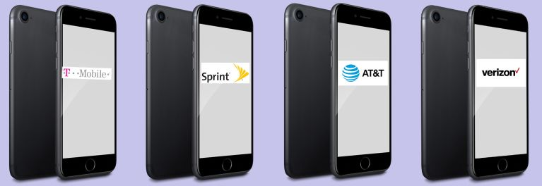 A parade of iPhone 7 models floating against a blank background showing the banners of T-Mobile, Sprint, and AT&T across their blank screens.