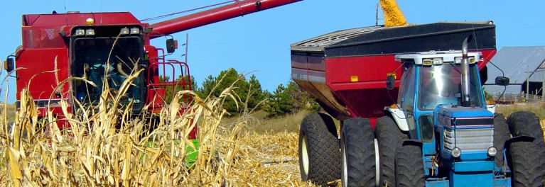 A truck in a farm field. Glyphosate is used on many farms.