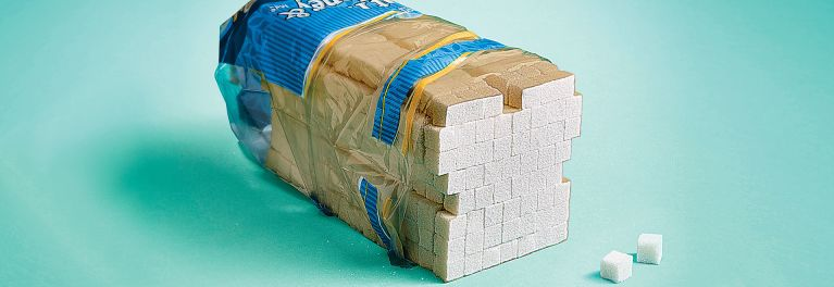A loaf of bread made out of sugar cubes. If you're cutting out sugar you need to know hidden sources.