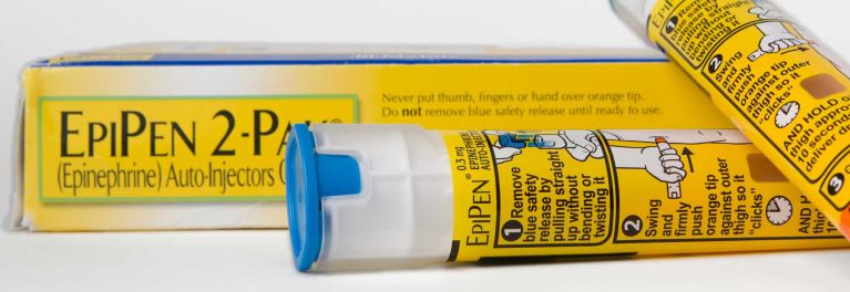 Photo of an EpiPen pack with auto injector.