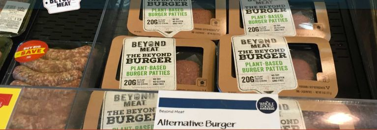 Beyond Burger meat patties are sold in the meat section of select Whole Foods Markets.
