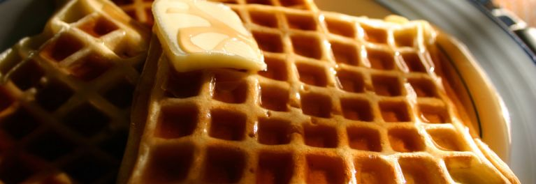 A pretty plate of waffles.