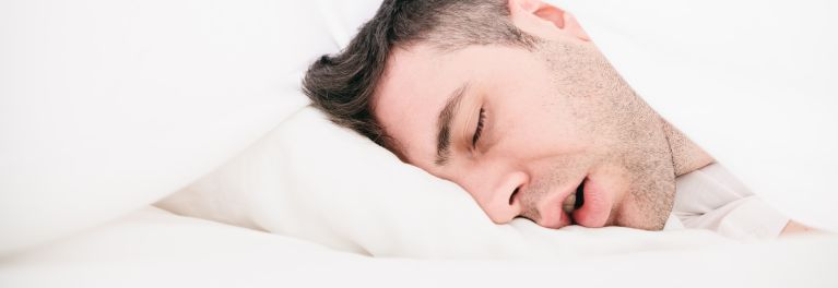 A man who needs help to stop snoring.