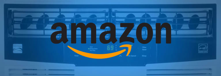 An Amazon logo over a Kenmore air conditioner to illustrate how you can now buy Kenmore appliances on Amazon