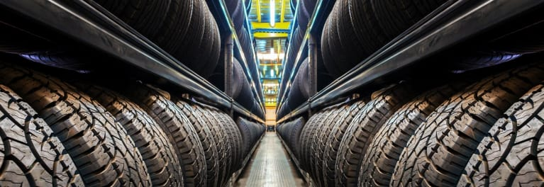 Most Satisfying Tire Retailers: rows of tires in a warehouse