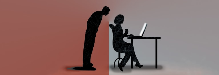 An illustration of a man peering over a the shoulder of a computer user for an article on protecting digital privacy